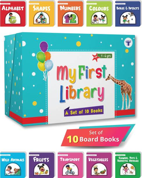 My First Library Box Set of 10 Board Books for Kids   Complete Learning Library of Alphabet, Numbers, Colours, Fruits and More for Children Gift Set - My First Library: Boxset of 10 Board Books for Kids