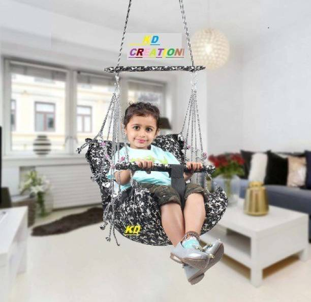 KD CREAION KD CREATION Cotton Swing for Kids Baby's Children Folding and Washable 1-6 Years with Safety Belt Home Garden Jhula for Babies for Indoor Outdoor, Baby Hanging Swing Jhula Brand: KD CREATION Swings