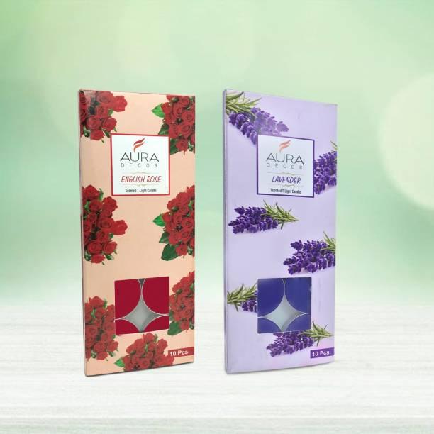 AuraDecor Pack of 20 Fragrance Tealights Rose & Lavender. Candle