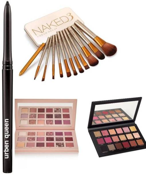 URBEN QUEEN KAJAL & 36 Different shades of nude edition and rose gold edition eyeshadow palette WITH set of 12 naked 3 brushes Tin Box ( 4 items )
