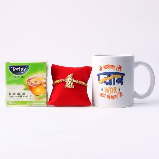 Ferns N Petals Ganesha Rakhi With Raksha Bandhan Printed Coffee Mug & Tetley Green Tea   Gift for Brother  Rakhi for Brother  Rakhi Gift  Rakhi Combo Assorted Gift Box
