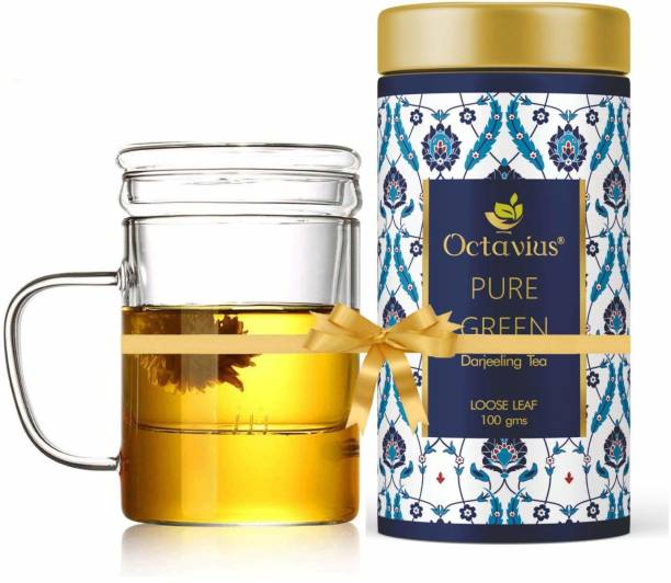 Octavius Tea Bliss Combo | Whole Leaf Pure Green Tea with Tea Infuser Mug | Helps in Weight Management | Perfect for Office, Home etc - Combo