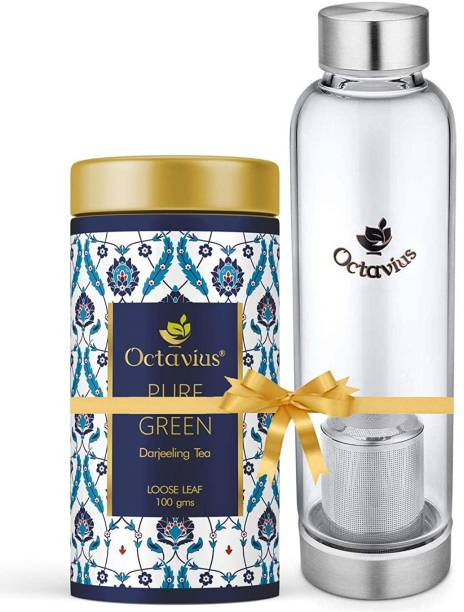 Octavius Tea Bliss Combo | Whole Leaf Pure Green Tea with Tea Infuser Bottle | Helps in Weight Management | Infuse On The Go | Travel Pack - Combo