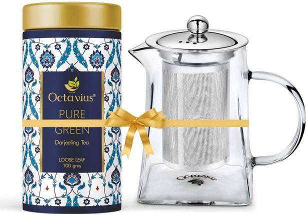 Octavius Tea Bliss Combo | Whole Leaf Pure Green Tea with Tea Infuser Pyramid Shape Teapot | Helps in Weight Management | Borosilicate Glass, Heat Resistant . Combo