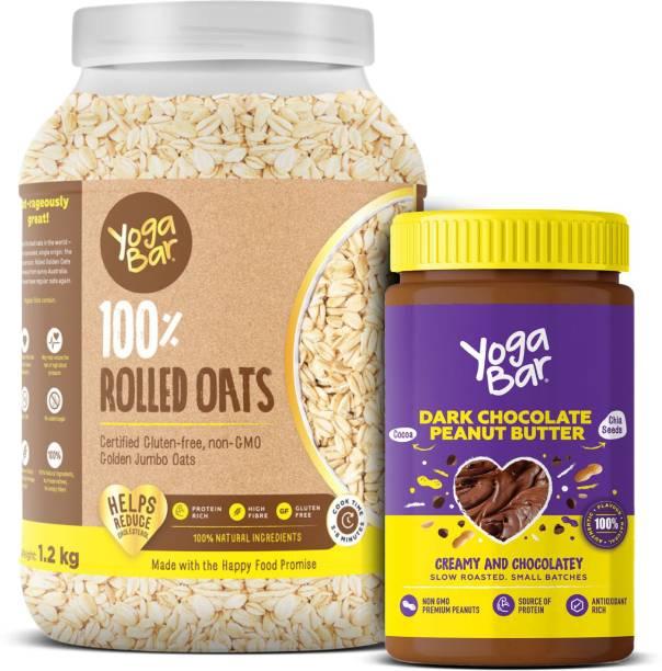 Yogabar Rolled Oats and Peanut Butter Combo | Premium Golden Rolled Oats 1.2kg | Dark Chocolate Vegan Peanut Butter 400g Combo