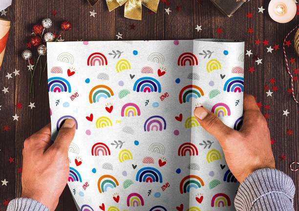 PKW Gift Wrapping Papers of Colourfull Rainbow Design Rainbow Printed Papers Gift Wrapper