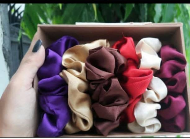 doozie Multicolor Pure Silk Scrunchies Hair Tie Elastic Large Hair Bands Rubber Band