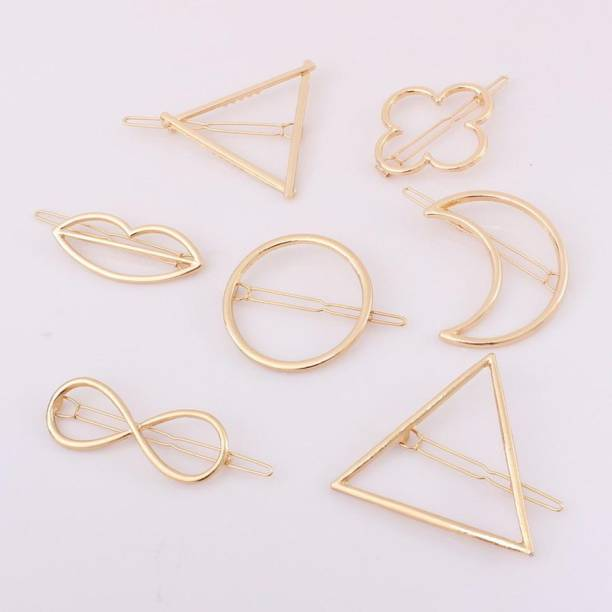 Iskrra Metal Gold geometric Design Barrettes Hair Clips Pins For Girls Women Shapes (Pack Of 4 PINS) Hair Clip