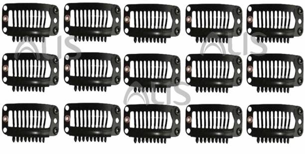 ALIS PROFESSIONAL U-shape Black Stainless Steel Wig Clips For Hair Hair Extension Weft Wigs 32mm 15 Pcs Set Bun Clip
