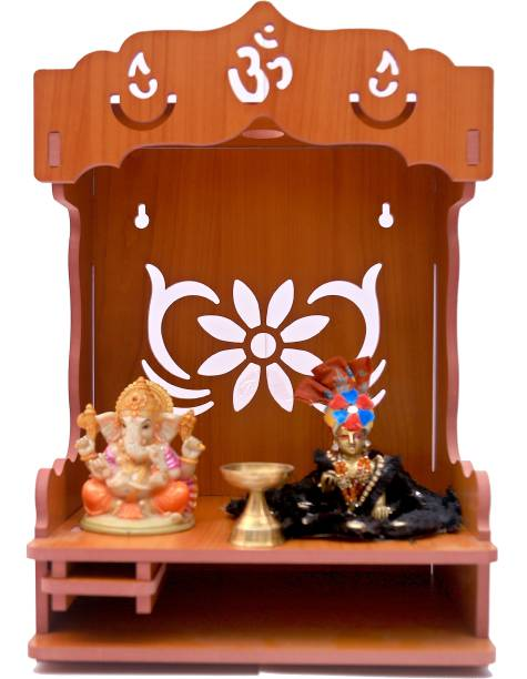 STASTORE Handmade Beautiful Wooden Home and Office Temple/Pooja Mandir Engineered Wood Home Temple