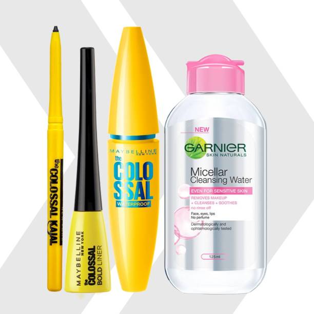 MAYBELLINE NEW YORK Call Me Colossal Kit - Colossal Waterproof Mascara + Colossal Kajal + Colossal Bold Liner with Garnier Micellar Cleansing Water, 125ml