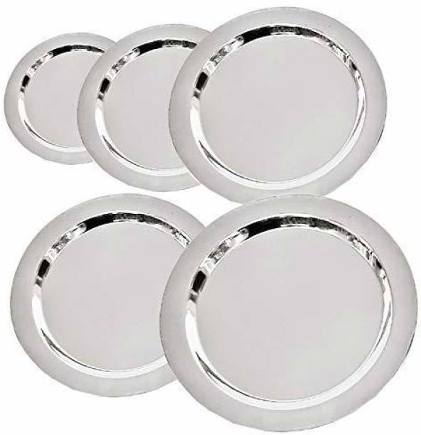 NARV Pack of 5 Stainless Steel kadai / fry pan / casserole / handi / tope/ bowl and other cookware utensils for daily use cook & serve application in your kitchen. Stainless Steel Heavy Gauge Ciba/Lids/Tope Cover 5.5 inch, 6 inch, 6.5 inch, 7 inch, 7.5 inch Lid Set Dinner Set