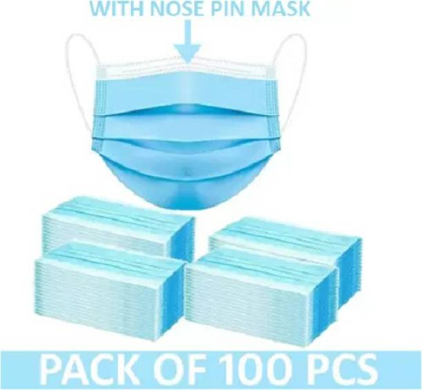 Nea Pharmaceutical Mask with nose pin 3 layered / 3 ply with Meltblown layer in middle , Surgical Face mask 100% certified anti pollution - anti viral Mask with Nose-pin and soft Ear-loops Mask-100 - 00010 - Meltblown Water Resistant Surgical Mask With Melt Blown Fabric Layer