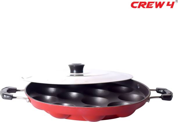 CREW4 APPAM PATRA Paddu Maker Ponganalu Maker kuzhi paniyaram Maker pan Paniyarakkal with Lid (Non-Stick) Paniarakkal with Lid 1 L capacity 22 cm diameter