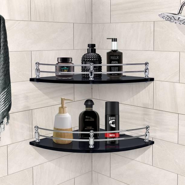 Plantex Premium Black Glass Corner Shelf for Bathroom/Kitchen Shelf/Bathroom Accessories(9x9 Inches - Pack of 2) Glass Wall Shelf