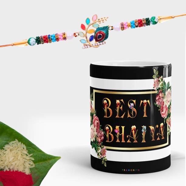 pramonita Designer Mug, Rakhi, Chawal Roli Pack  Set