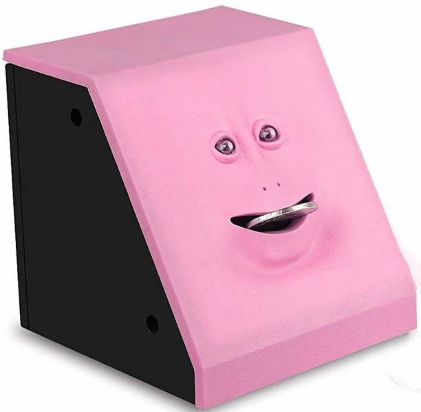 ARONET Battery Operated Musical Coin Eating Face Bank Toy Fun and Unique Piggy Bank (Batteries not Included) Pink Color