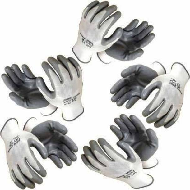 STYLERA 5 PAIR Anti Cutting Cut Resistant Hand Safety Gloves Cut-Proof Protection with Rubber Grade Wet and Dry Glove Nylon, Rubber  Safety Gloves