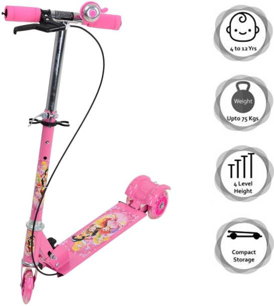 Fifth U Three Wheeled Metal Folding Skate Scooter with Light up Wheels and Height Adjustable Handlebar Break and Bell Kids Scooter