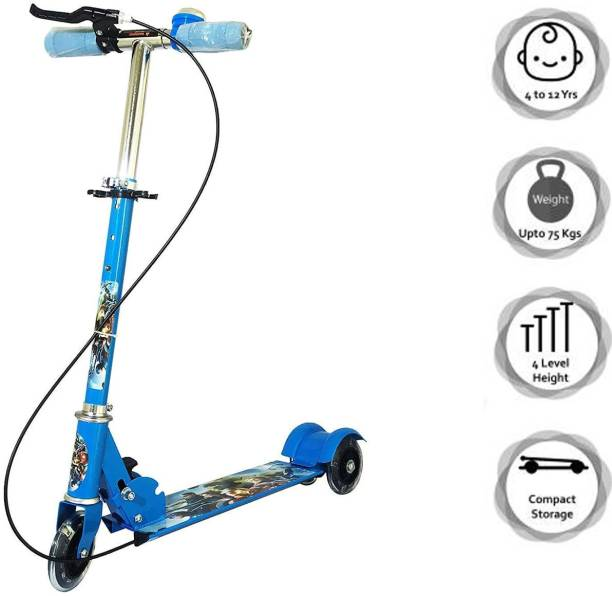ZARTHA Road Runner Scooter for Kids of 3 to 14 Years Age 3 Adjustable Height, Foldable, LED PU Wheels & Weight Capacity 75 kgs Kick Scooter with Brakes Blue Cycle Special for Kids 3 Wheel Scooter Kids Scooter
