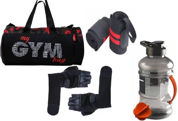EMMCRAZ my red gym bag with gallon bottle with wrist band and gym gloves Home Fitness Kit