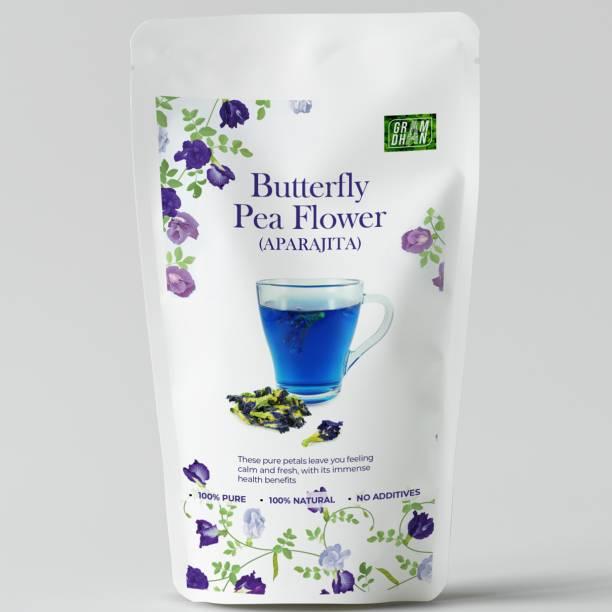 GRAMDHAN Butterfly Pea Flower Herbal Tea | Antioxidant - Good for Skin Caffeine Free |Blue Tea | Herbs Herbal Tea Pouch
