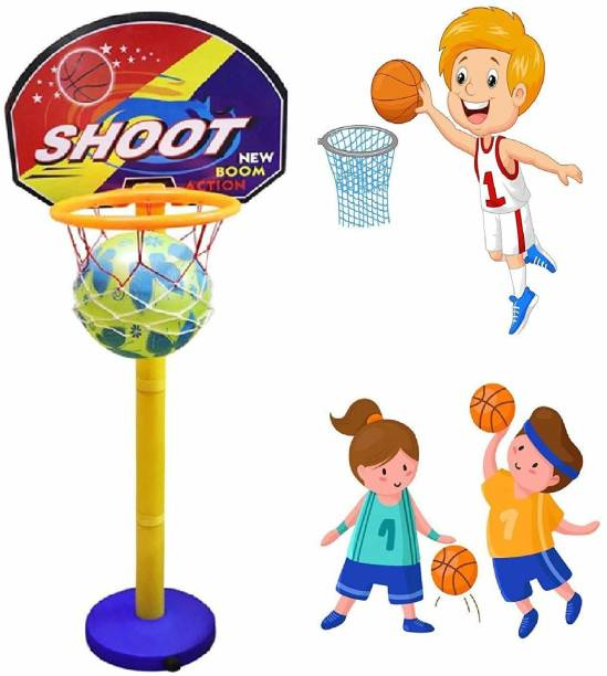 KREDZSTAY Basket Balls for Kids, Indoor and Outdoor Game Basketball Net with Ring Best Return Gift Item for Kids (Multicolor) Basketball