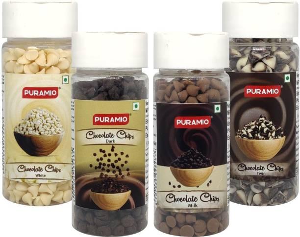 PURAMIO Chocolate Chips Combo of- White, Milk, Twin & Dark, 75g each Chips
