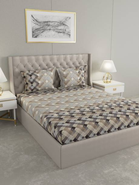 Raymond Home 160 TC Cotton Double Geometric Bedsheet