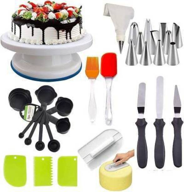 FEMICO Cake Making Supplies Decoration Tools Cake Making Supplies Decoration Sculpting Tools & Accessories Set Multi Color Measuring Cup, Spatula, Brush, Scraper, 3 in 1 Knife Set, Cake Table, Cake Smother and Cake Nozzle Set for Best combo Gift (standard quality) Multicolor Kitchen Tool Set (Multicolor) Full Cake Maker Cake Maker