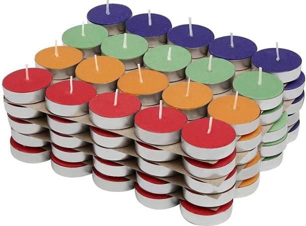 Parkash Candles Coloured Tea Light Candles Set of 100 Pcs ( Unscented ) Candle