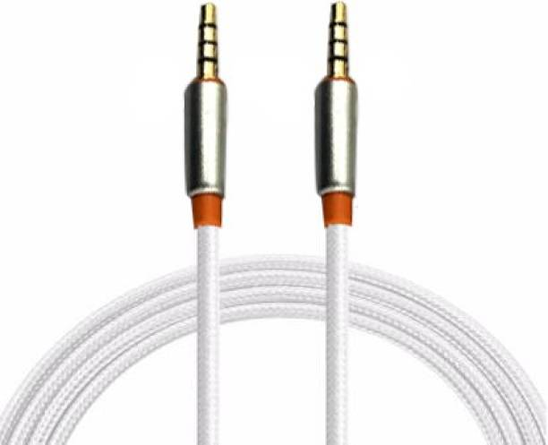 Zice 3.5mm Male to Male Metallic Aux Audio Cable with Metallic Plated Connectors, 1.5 Meter (White) 1.5 m AUX Cable