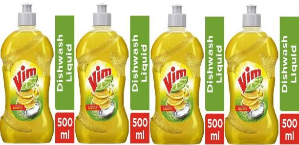 Vim Dishwash Liquid Gel Lemon, With Lemon Fragrance, Leaves No Residue, Grease Cleaner For All Utensils (500<>4) Dish Cleaning Gel