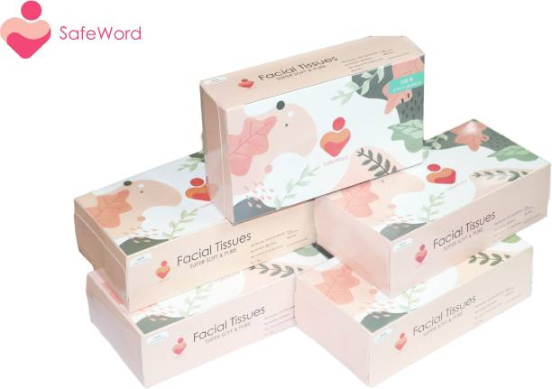 SafeWord Facial Dry Tissue Paper, Super Soft, Super Absorbent, Skin Friendly, Facial Tissue & 100% Pure (Use In Home, Office, Car, Hospital, Travelling)100Pulls*5 2Ply