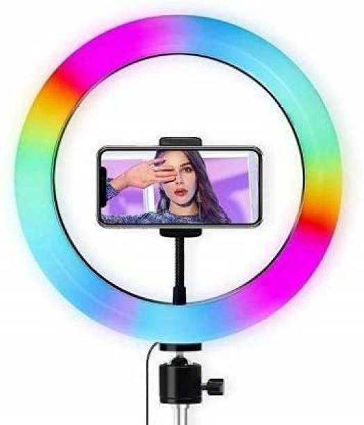 """Oxhox RGB LED 10"""" Inch Soft Ring Light, RGB Flash Ring Light for Camera Smartphone YouTube Video Shooting and Makeup, Light for Reels , Vigo and Many More (Without Tripod) Ring Flash (Multicolor) Ring Flash"""