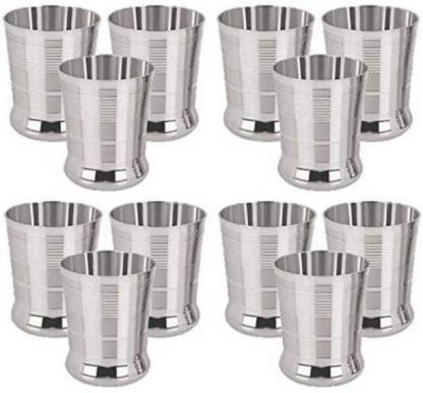 jinbil (Pack of 12) RI Stainless Steel Designer Glass 400 ml, Set 12 of Water/ Milk/ Tea/ Lassi/ Glass/ Tumbler/ Stainless Steel Drinking Glass Set Glass Set