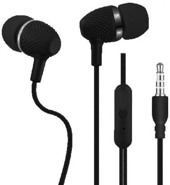 KAWL Black Wired Headset,Earphone With Mic for Mobiles-Tablet&Laptop Wired Headset