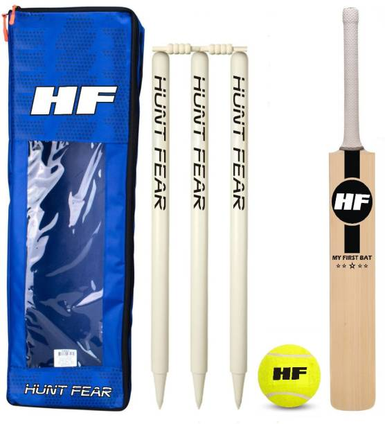 HF MY FIRST JUMBO MINI KIT Junior Cricket Bat Size 3 For Age Group 8 Years with 1 Piece Kit Cover 1 Piece Tennis Ball and wickets set Cricket Kit