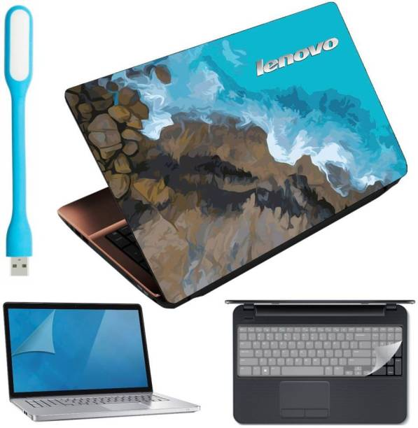 Anweshas 4in1 Combo of Premium Quality Lenovo Blue Sea Laptop Skin with Usb Led Light, Key Guard and Screen Guard for 15.6 inches Laptop Combo Set