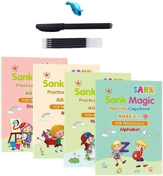 DRHIVE 4 PCS Sank Magic Practice Copybook for Kids,Magic Calligraphy That Can Be Reused Tracing Handwriting Copybook Set,English Writing Practice Book for Kid (4 Books + 5 Refills) School Set
