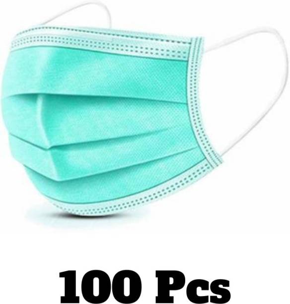 Uniqon Surgical mask with nose pin/3 ply Mask/Surgical Face mask 100% certified anti pollution - anti viral Mask with Nose-pin and soft Ear-loops Mask-100)green mask Surgical Mask With Melt Blown Fabric Layer (Green, Free size, Pack of 100, 3 Ply) Surgical Mask