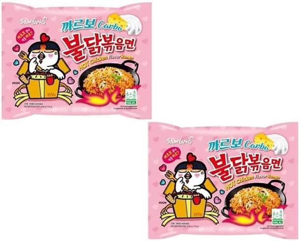 Samyang Hot Chicken Ramen Carbo Noodles-130X2 Instant Noodles Non-vegetarian Instant Noodles Non-vegetarian