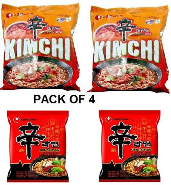 Nongshim Shin Ramyun 2X 120 & Shin Kimchi Instant Noodles 120gm*2 Pack (Pack of 4 Multi-Pack) (Imported) Instant Noodles Vegetarian