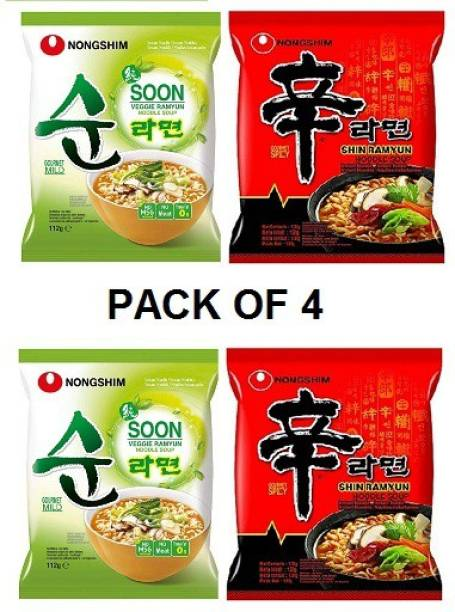 Nongshim Shin Ramyun 2X120 & Soon Veggie 2X120 Instant Noodles (Pack of 4) Multi-Pack) (Imported) Instant Noodles Vegetarian