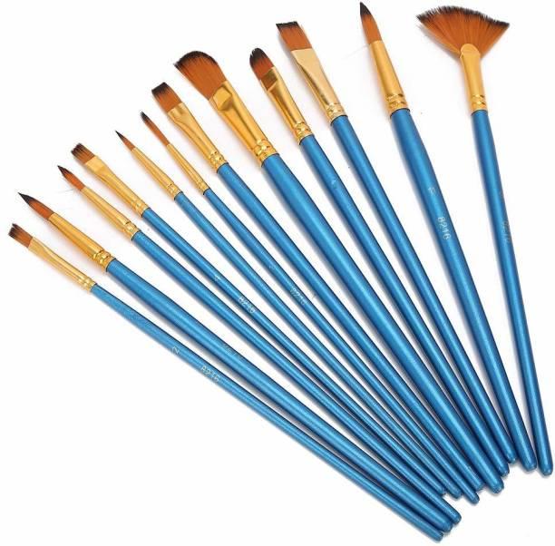 Beauty Hub Decor Painting Brushes Set of 12 Professional Round Pointed Tip Nylon Hair Artist Acrylic Paint Brush