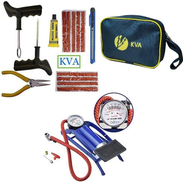 KVA PLUS KV-137 Puncture Kit with 100 psi Tyre Air Pump for Car & Bike Tubeless Tyre Puncture Repair Kit