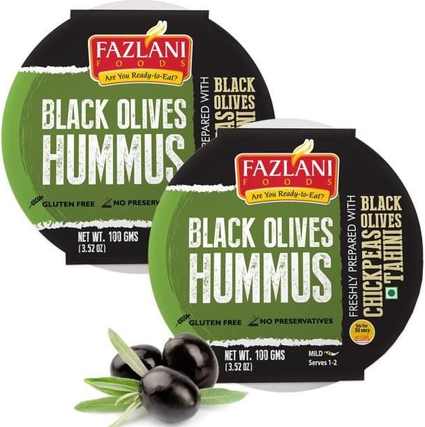FAZLANI FOODS Ready to Eat Black Olives Hummus Shelf Stable & Gluten Free - Pack of 2 200 g