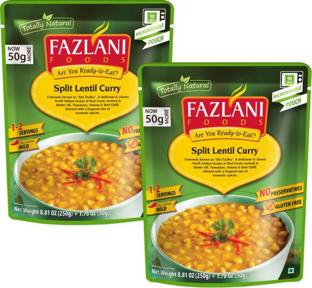 FAZLANI FOODS Dal Tadka (Spiced Yellow Lentils) Curry, (Pack of 2, 250gm each) 500 g