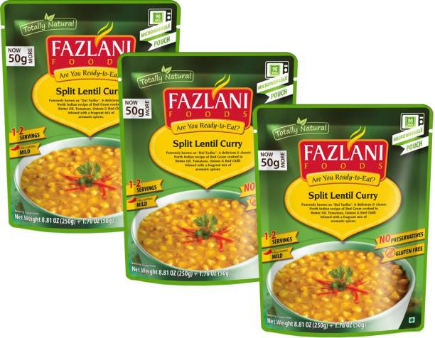 FAZLANI FOODS Dal Tadka (Spiced Yellow Lentils) Curry, (Pack of 3, 250gm each)` 750 g