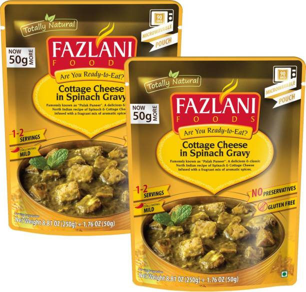 FAZLANI FOODS Ready to Eat Palak Paneer Curry, (Pack of 2, 250gm each) 500 g